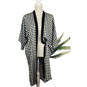 NEW open long CAFTAN  Buffalo Check B&W DUSTER